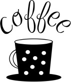 Polka Dot Coffee Cup Typography