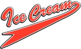 Retro Ice Cream Text in Red