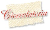 Red Formal Cioccolateria Text on Natural Fabric