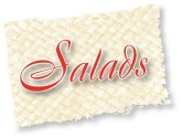 Salads Red Script on Reed Mat