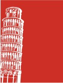 Leaning Tower of Pisa on Red Frame