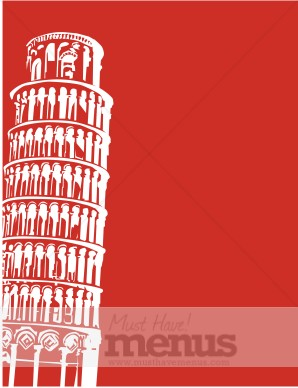 Leaning tower of pisa on red frame cultural menu backgrounds