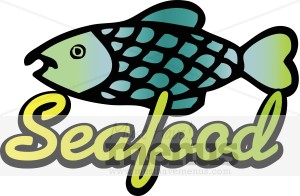 Fish Cartoon with Seafood Text | Seafood Clipart