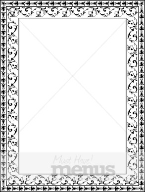Black and White Ornate Floral frame Menu Borders