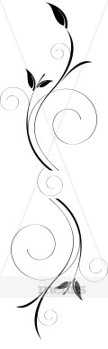 Sleek Black Leaves Spirals Divider