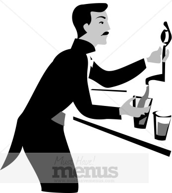 Bartender with Beer Clipart