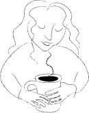 Woman with Coffee Clipart