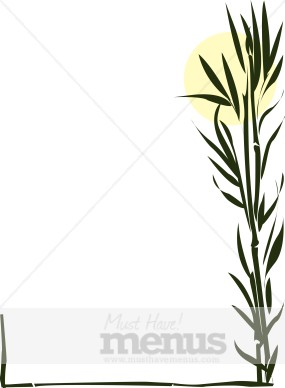 Asian Bamboo Border Thai Menu Clipart