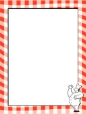 Red Gingham Border with Chef