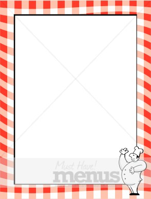 Red Gingham Border with Chef | Menu Borders