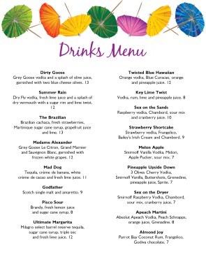 Marvelous Drink Menu Template  Drinks Menu Template