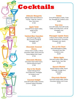 Cocktails menu cocktail menu for Mixed alcoholic drinks list