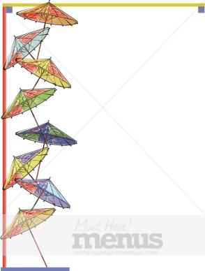 Asian Umbrellas Border Bar Clipart