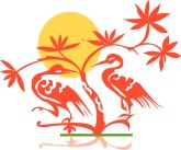 Orange Cranes Clipart