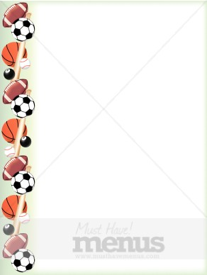 sports balls border sports menu backgrounds rh musthavemenus com sports clip art borders Sports Equipment Clip Art