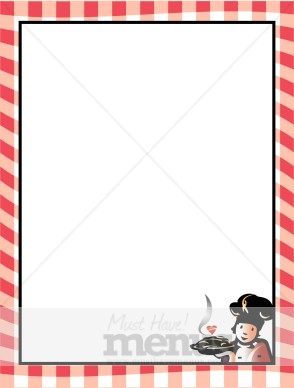 Red Gingham Border With Pastry Chef Food Menu Borders
