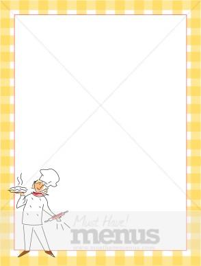 Yellow Gingham with Dessert Chef   Food Menu Borders