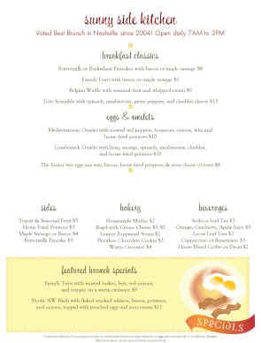 Attractive Customize Breakfast Menu Template Pertaining To Breakfast Menu Template