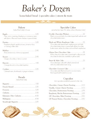 Bakery Lunch Menu | Bakery Menu