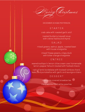 Customize Christmas Dinner Menu Template
