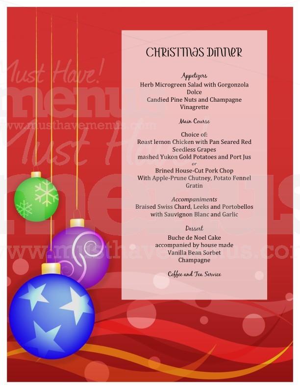 Christmas Dinner Menu Template / Page 1 of 1