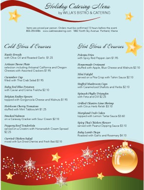 customize holiday dinner catering menu