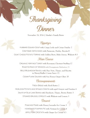 Autumn Buffet Menu Thanksgiving Menus