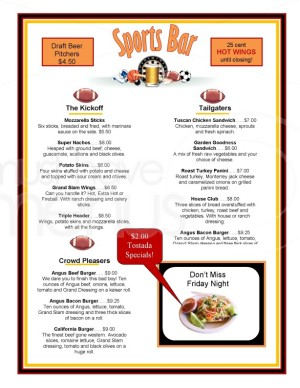 Sports Bar Football Menu Template Menus