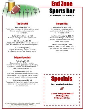 Football Season Bar Menu | Sports Bar Menus