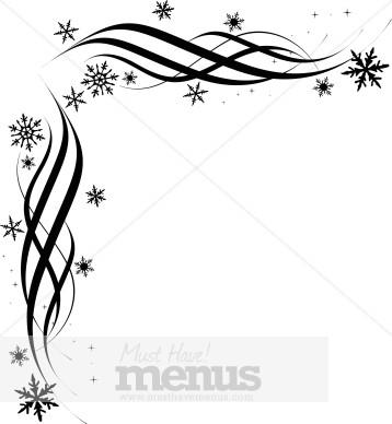 Black Snowflake Corner | Christmas Menu Borders