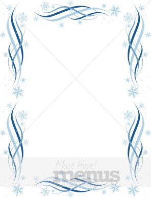 Blue Streamers Snowflakes Border