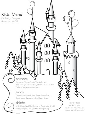 Customize Castle Coloring Menu