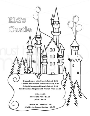 menu coloring pages - castle coloring menu template kids 39 menus