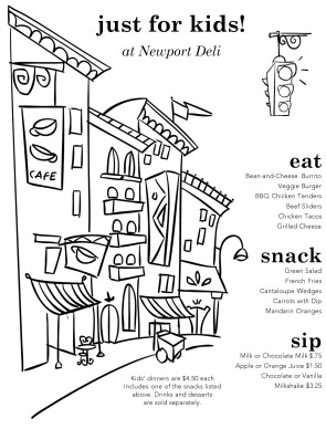 Customize Archive Kids Menu  Kids Menu Templates