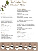Coffee Bean Breakfast Menu
