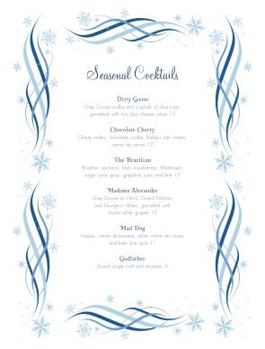 Swirly Cocktail Menu Christmas Menus