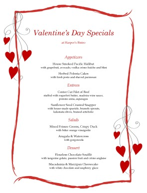 Menus Holiday Menus Valentine 39 s Day Menus Need help Call us at 800