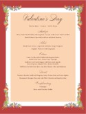 Happy Valentines Day Menu