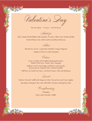 Happy Valentines Day Menu | Valentine's Day Menus
