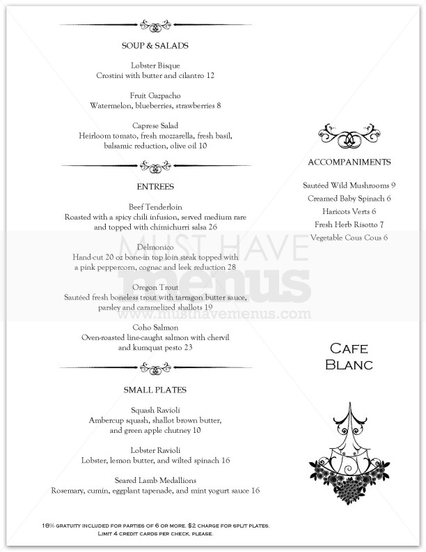 The gallery for fancy restaurant menu template for Fine dining menu template free