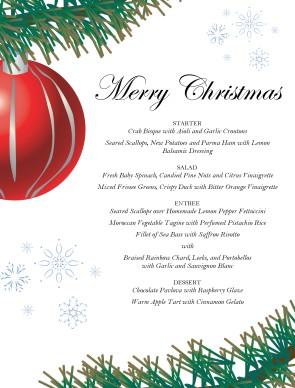 red ornament christmas menu christmas menus. Black Bedroom Furniture Sets. Home Design Ideas