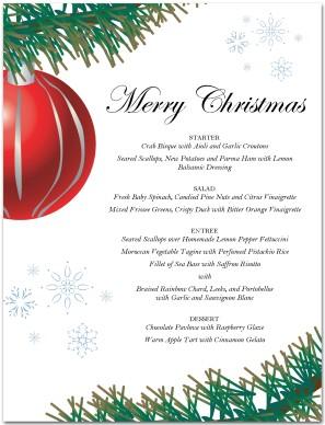 red ornament christmas menu template christmas menus - Christmas Menu Template