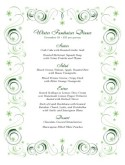 Green Swirls Christmas Menu
