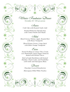 Customize Green Swirls Christmas Menu