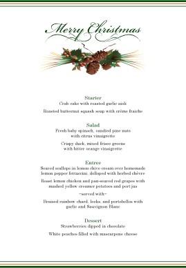 Simple Setting Christmas Menu | Christmas Menus