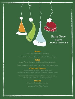 Customize Winter Hat Christmas Menu