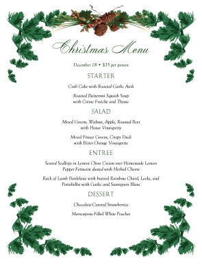 Pine Boughs Christmas Menu Christmas Menus