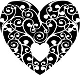 Black Filigree Heart Valentine Image