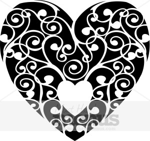 Black Filigree Heart Valentine Image Holiday Clipart Archive