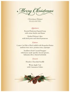 seasonal centerpiece christmas menu template archive